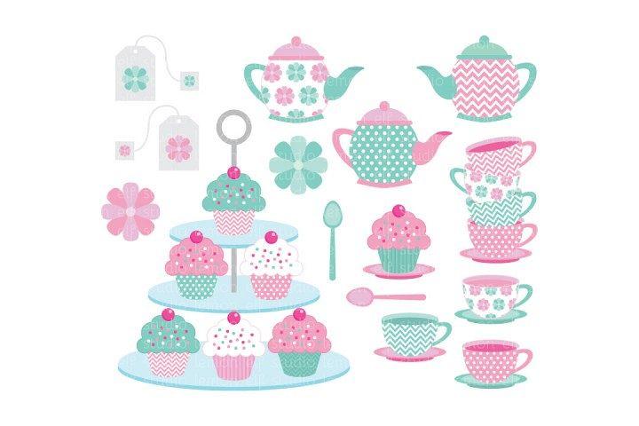 Tea Time-Digital Clipart (LES.CL08) example image 1