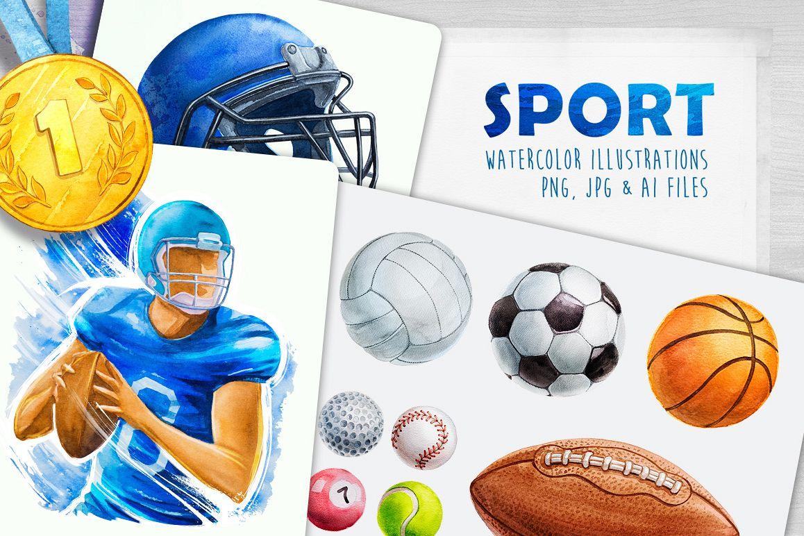 Sport. Watercolor illustrations. example image 1