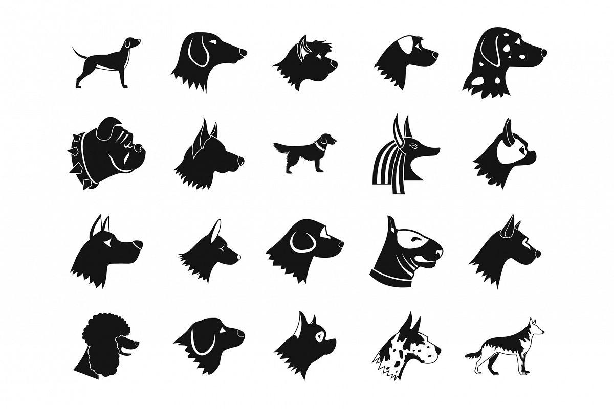 Dog icon set, simple style example image 1