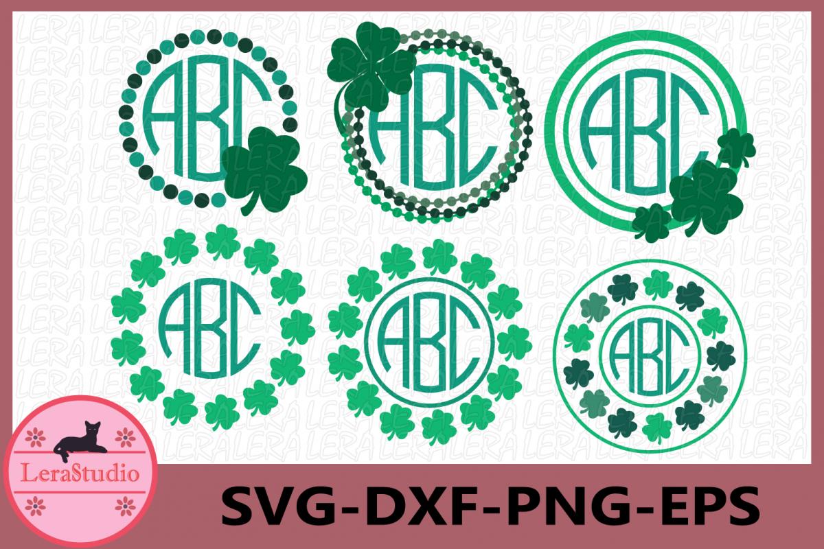 Clover Monogram Svg, 4 Leaf Clover Svg, Shamrock Monogram example image 1