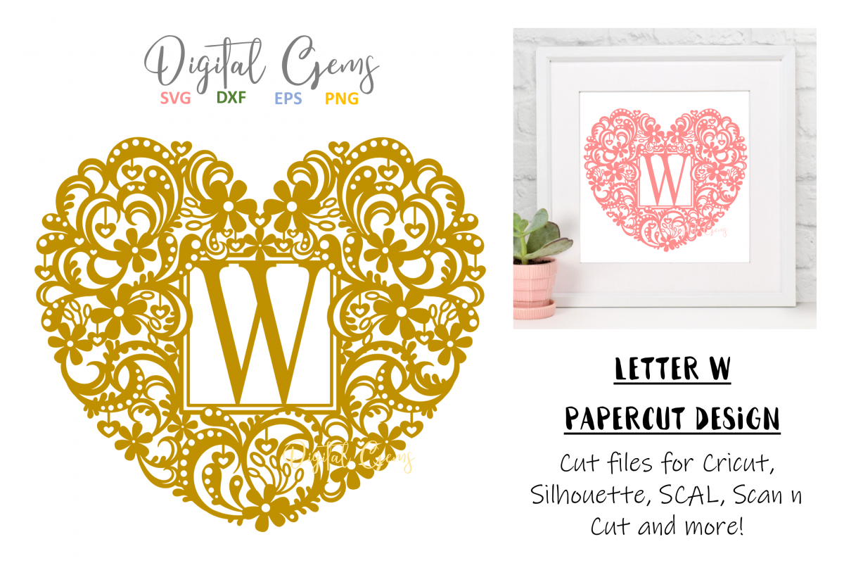 Letter W paper cut design. SVG / DXF / EPS / PNG files example image 1