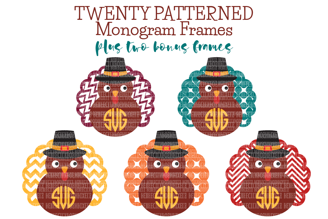 Thanksgiving Svg Files Turkeymonogram Frame Scrapbooking Cricut