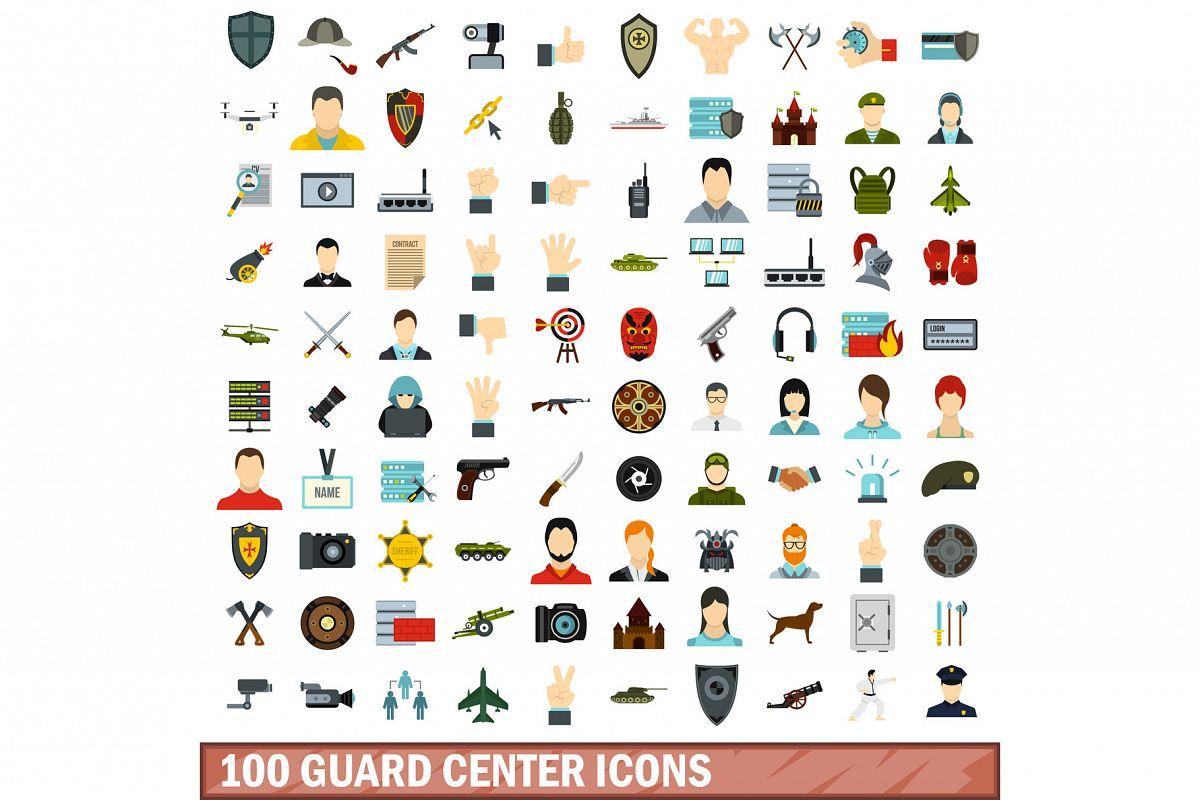 100 guard center icons set, flat style example image 1