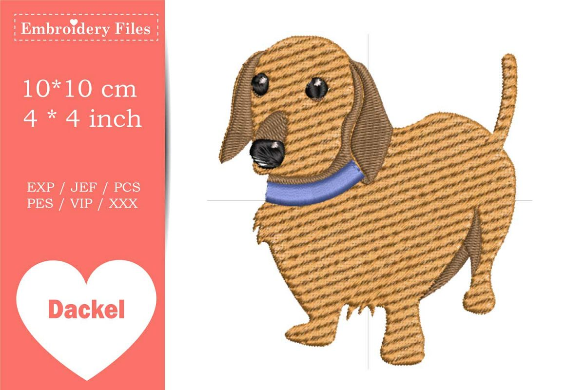 Cute Dachshund - Embroidery File example image 1