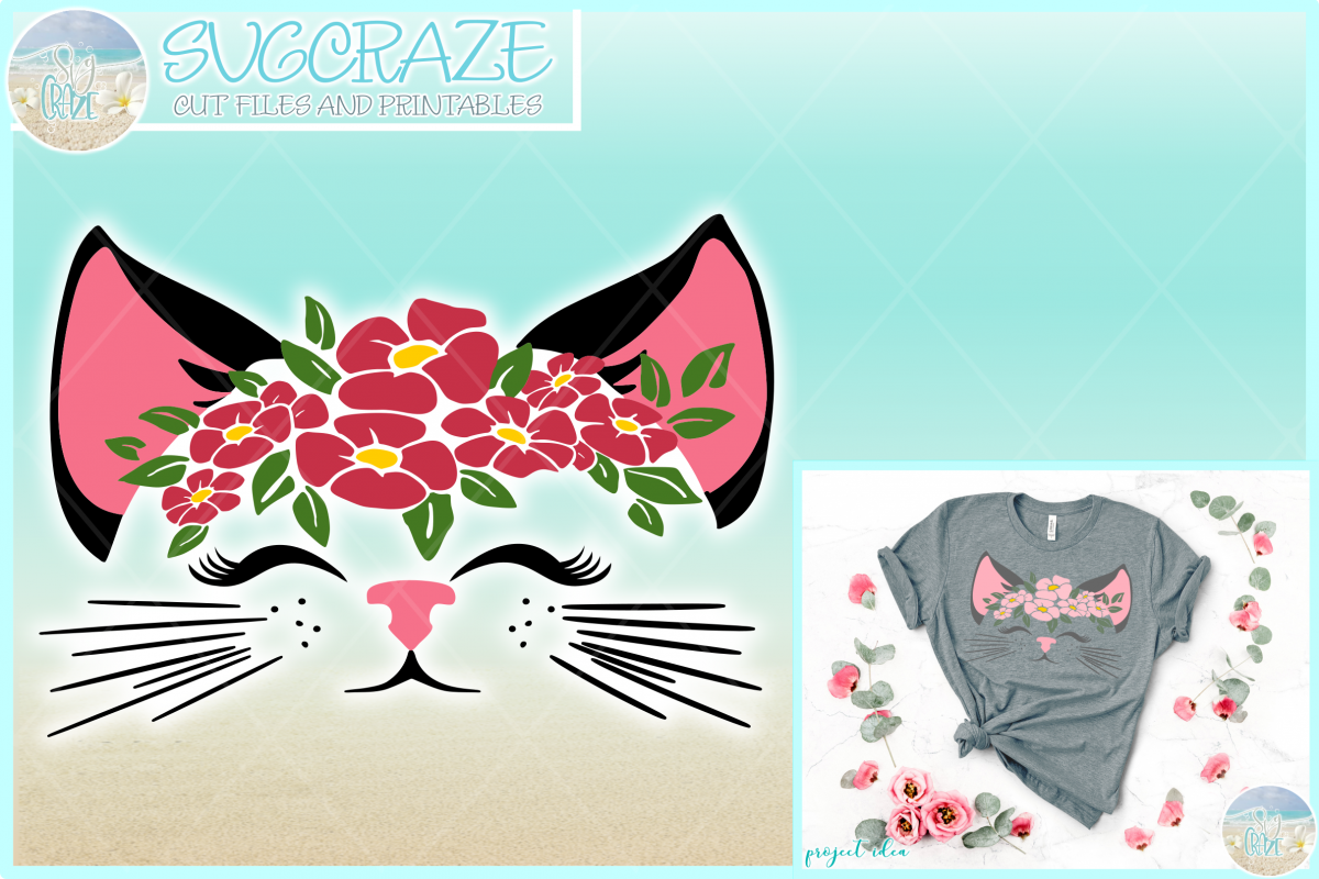 Cat Face With Flowers Svg Dxf Eps Png Svg Files For Cricut example image 1