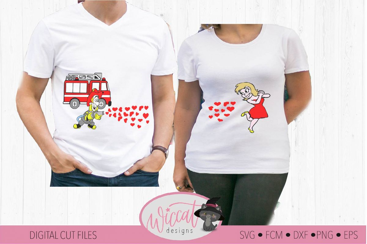 Valentine Fire Truck Couple shirt svg, Fire man svg example image 1