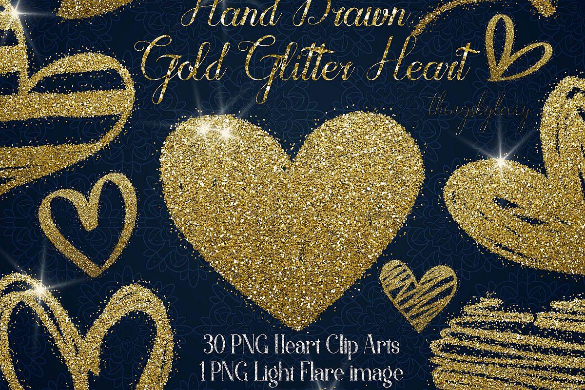 30 Gold Glitter Hand Drawn Heart Clip Arts Wedding Valentine example image 1