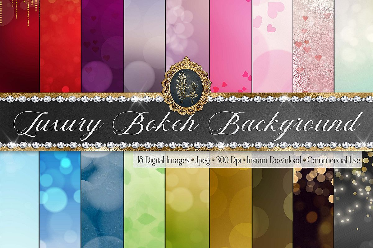 18 Luxury Bokeh Background Digital Images Gold Bokeh Heart example image 1