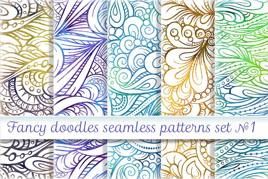 Fancy doodles seamless patterns set #1  example image 1