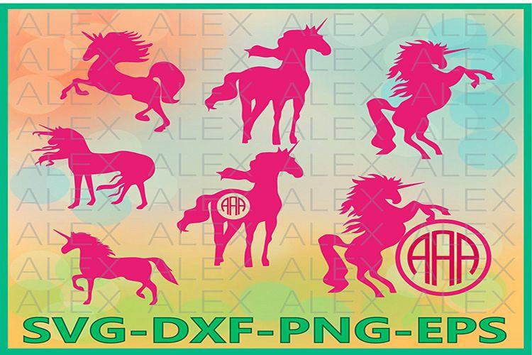 Unicorn SVG, Unicorn Monogram Frame Files svg, Unicorn png example image 1
