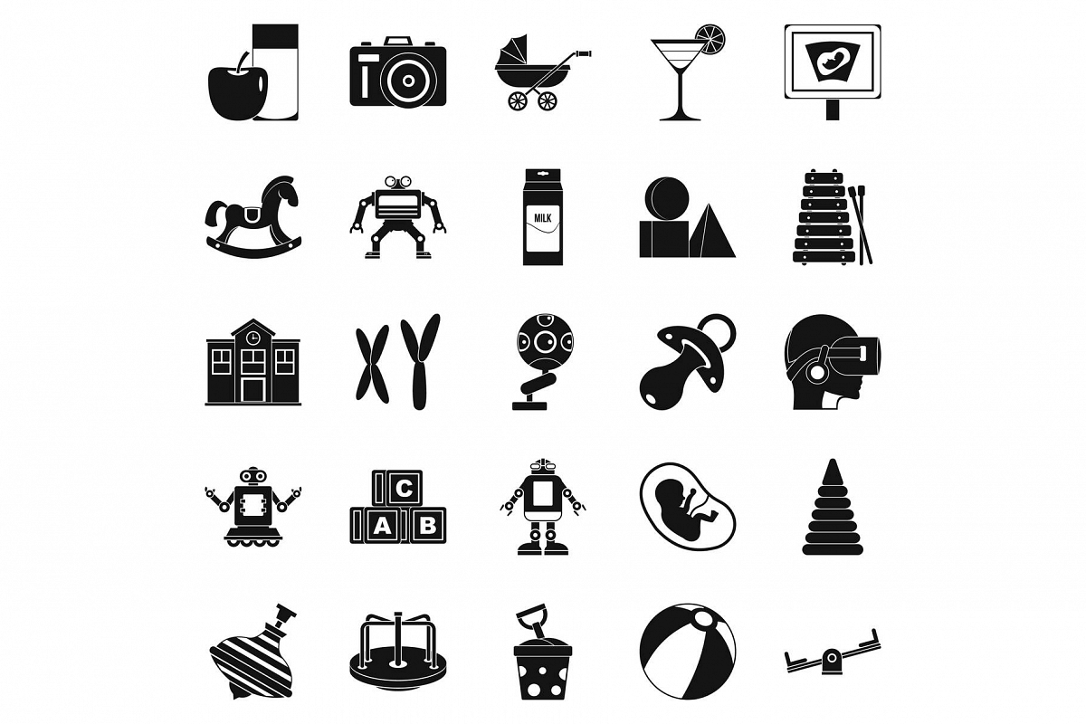Great childhood icons set, simple style example image 1