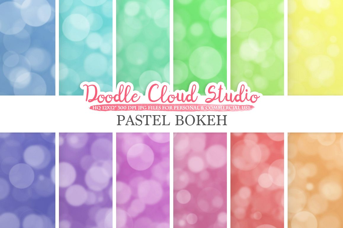 Bokeh digital paper, Pastel colors Bokeh Overlay, Bokeh backgrounds, Instant Download, for Personal & Commercial Use example image 1