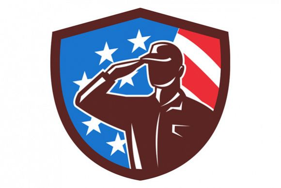 American Soldier Saluting USA Flag Crest Retro example image 1
