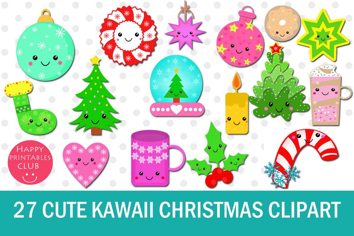 27 Cute Kawaii Christmas Clipart Example Image 1