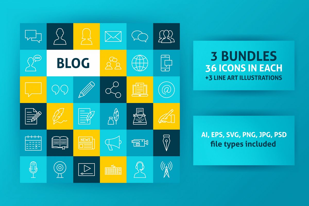 Blog Line Art Icons example image 1