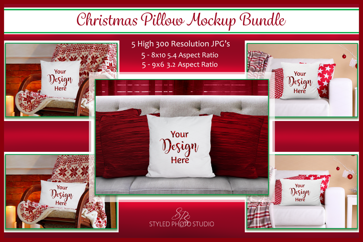 Christmas Pillow Mockup Bundle, Pillows Mock Up Bundle, JPG example image 1