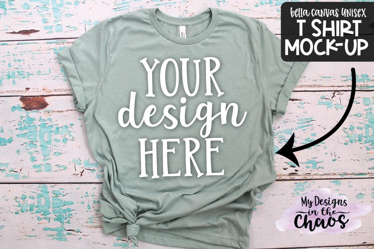 T Shirt Mock Up   Green Bella Canvas Unisex Mock Up example image 1