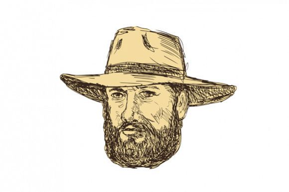Bearded Cowboy Head Drawing example image 1