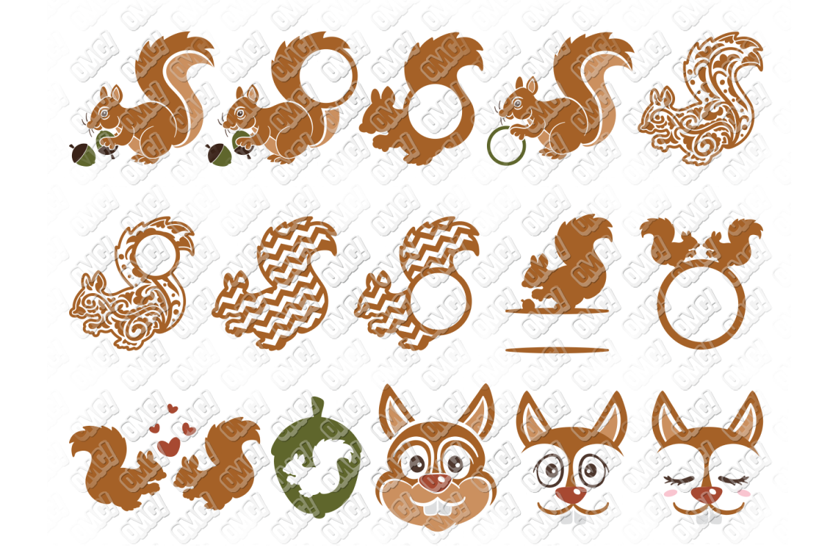 Squirrel SVG Monogram Face in SVG, DXF, PNG, EPS, JPG example image 1