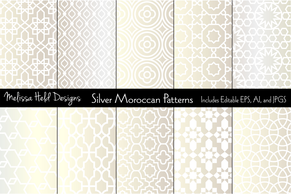 Silver Metallic Moroccan Patterns example image 1