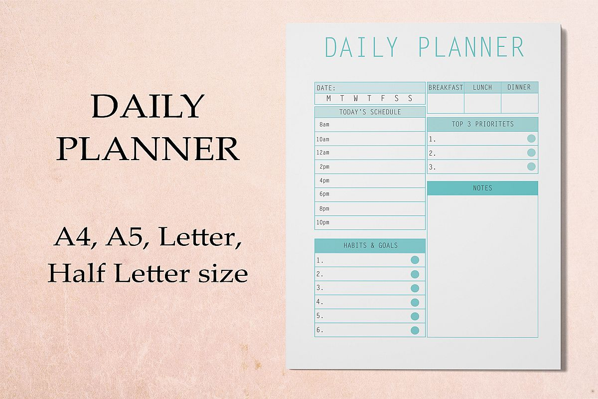 Daily Planner Printable 2019, Digital Planner Pages example image 1