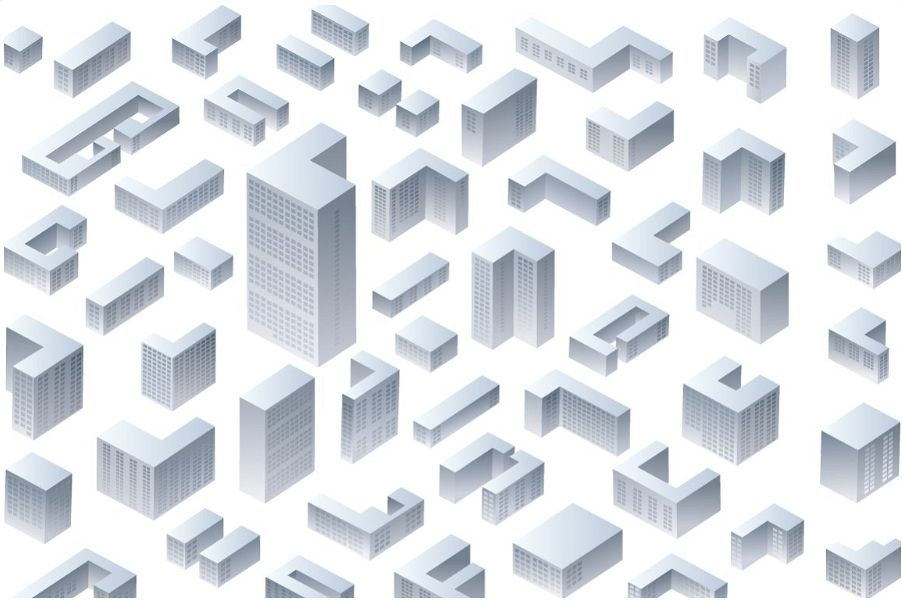 Isometric residential and office buildings example image 1