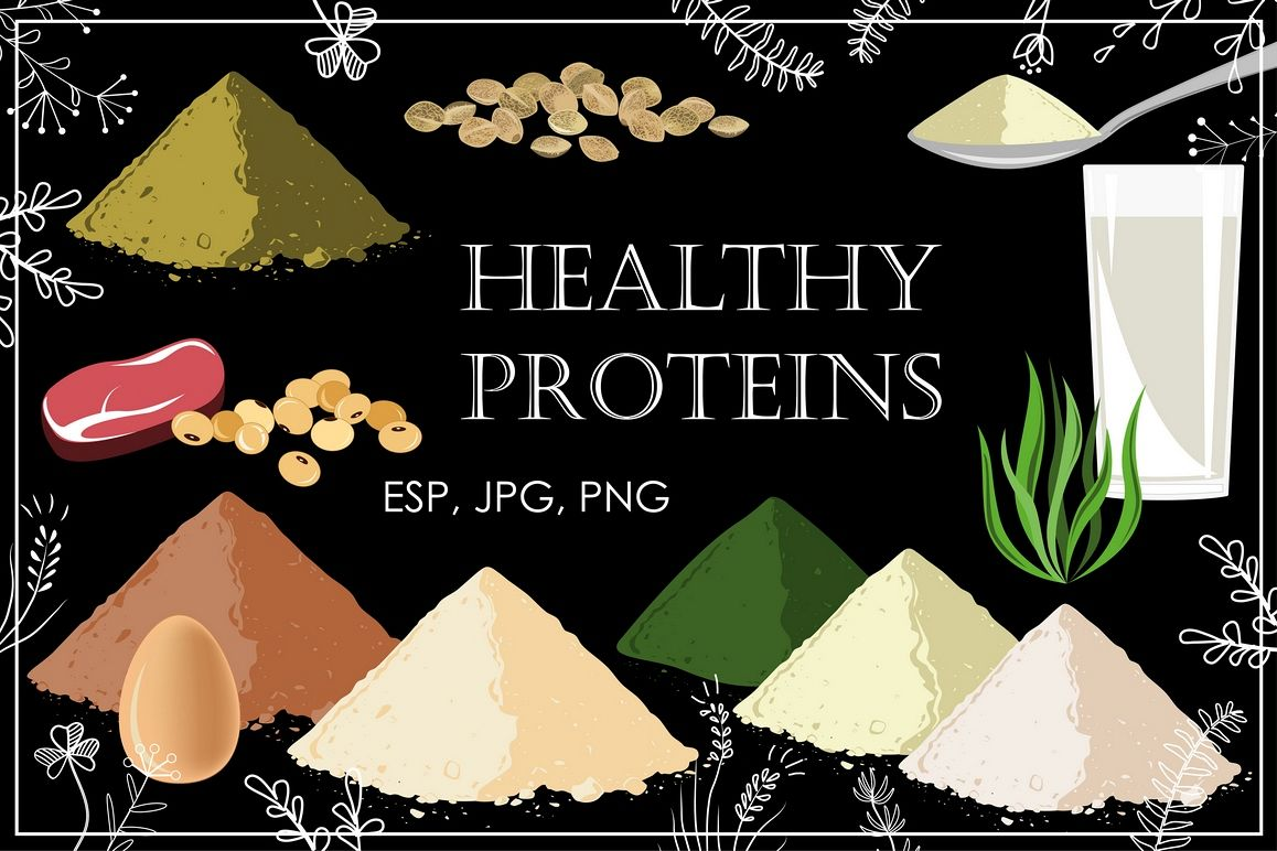 Healthy Proteins. Vector Collection example image 1