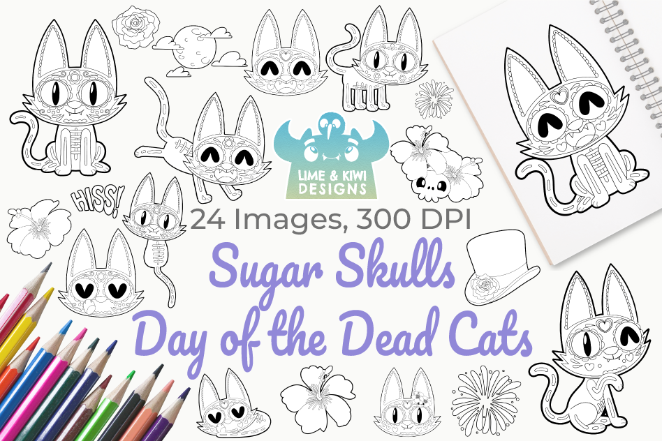 Sugar Skulls Day of the Dead Cats Digital Stamps example image 1