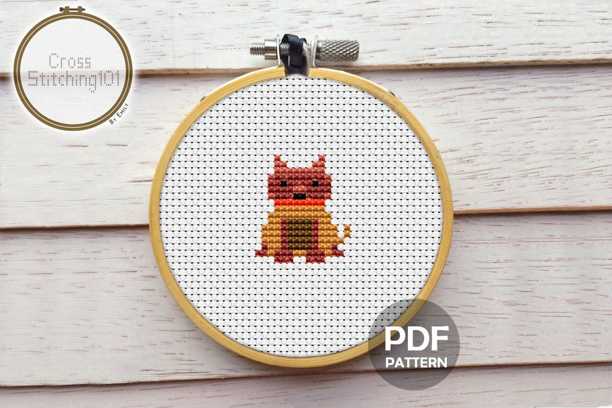 Boxer Dog Mini Cross Stitch Pattern PDF example image 1