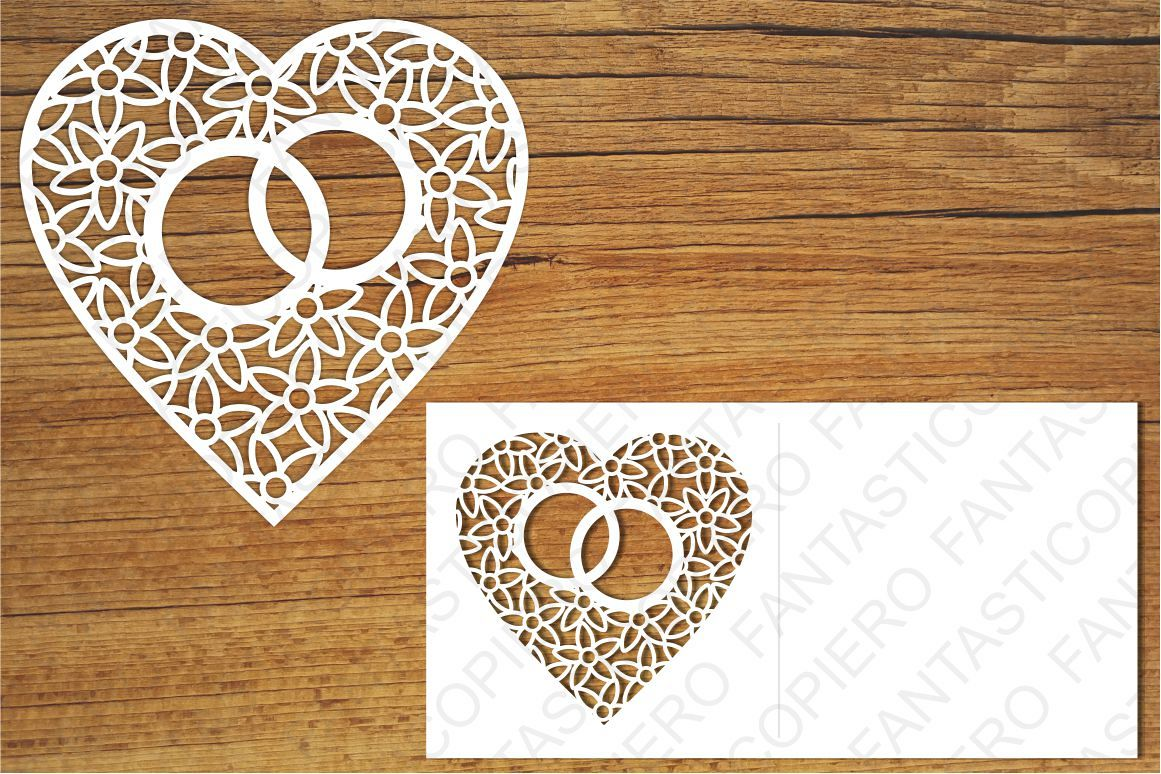 Heart with wedding rings SVG files for Silhouette and Cricut example image 1