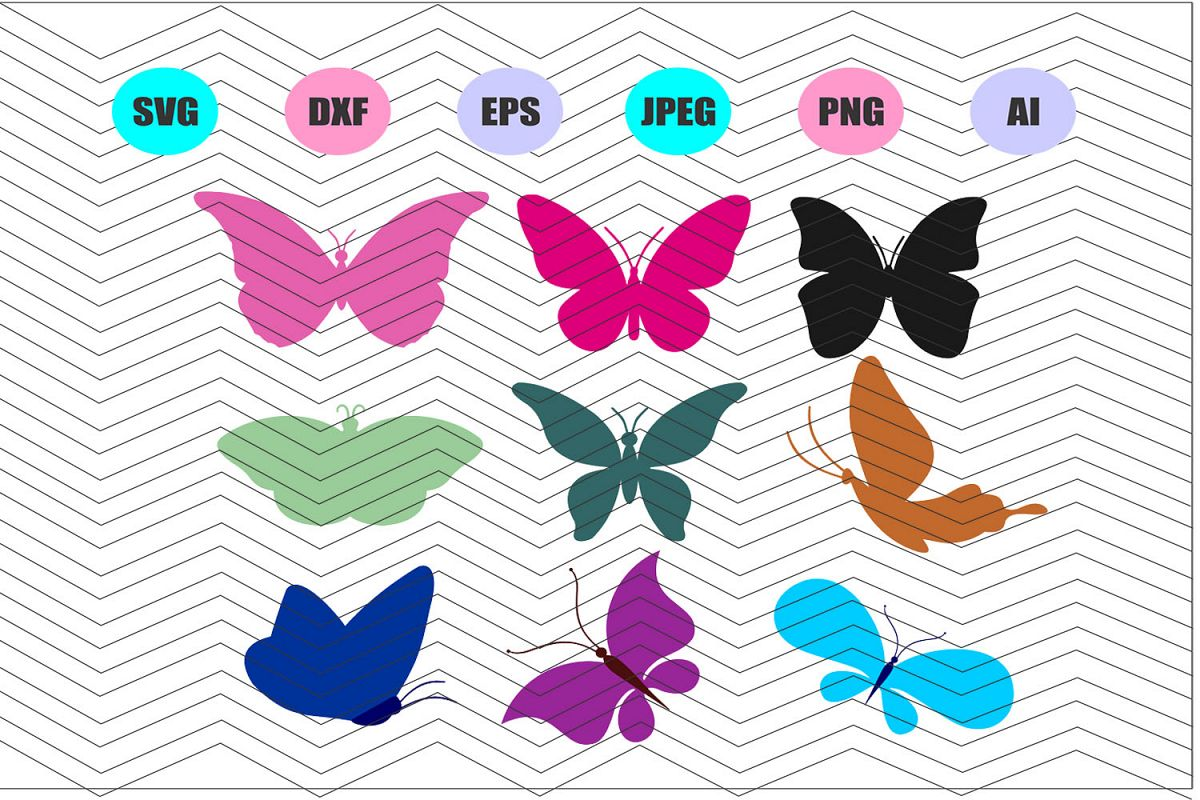 Butterflies Svg Vector File Cricut Design Vinyl Decal example image 1