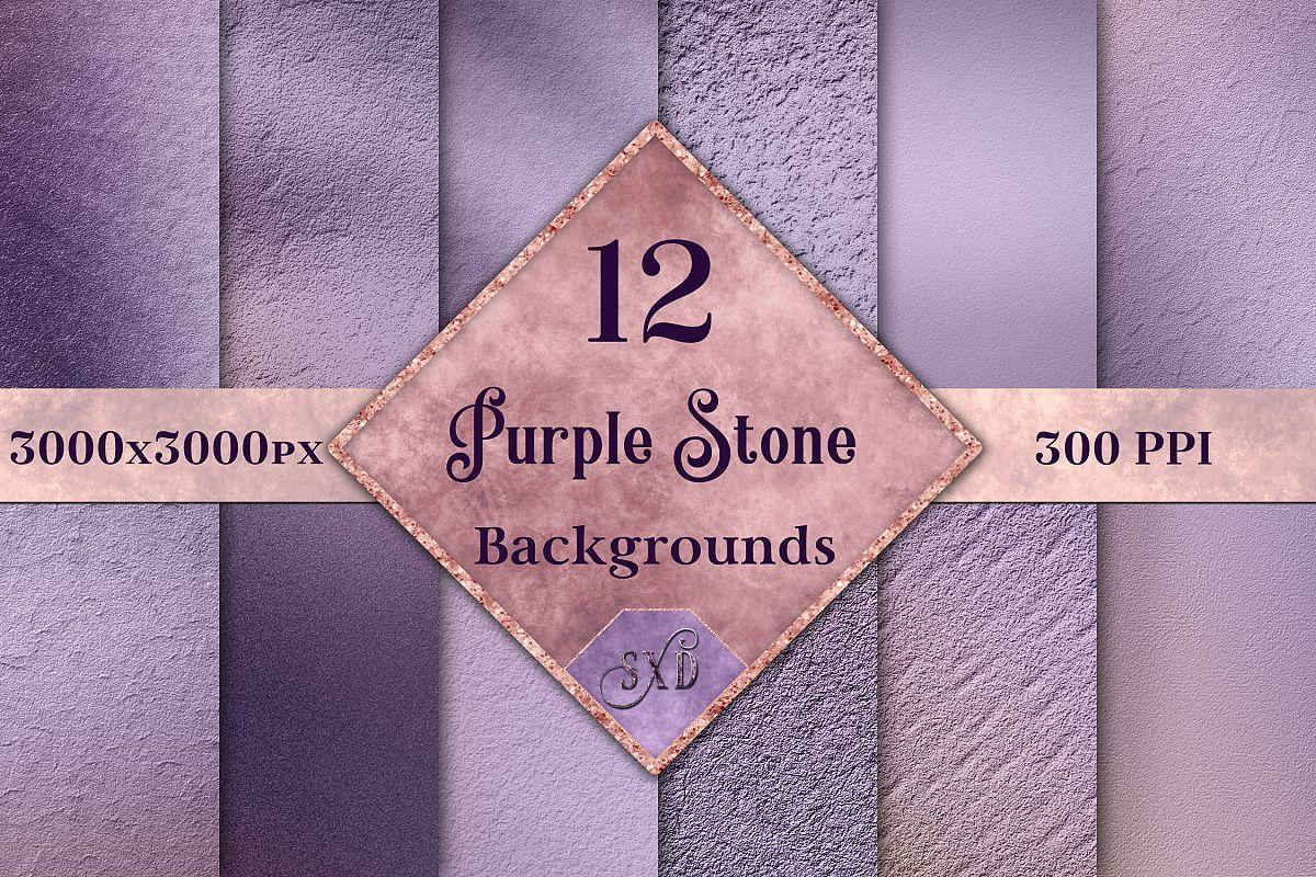 Purple Stone Backgrounds - 12 Image Textures Set example image 1