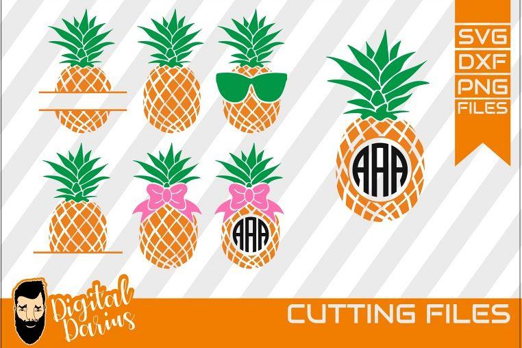 7x Pineapple Monogram Svg, Pineapple, bundle, Fruit, summer example image 1