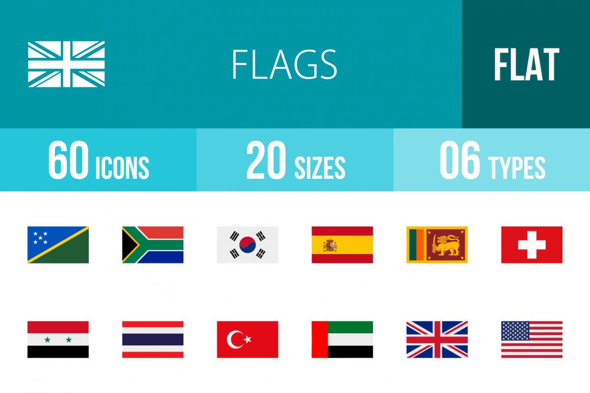 60 Flags Flat Multicolor Icons example image 1