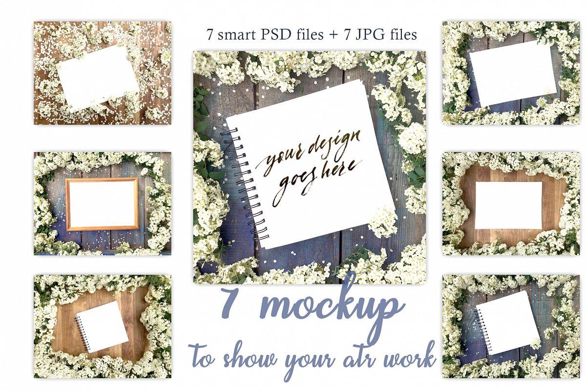 White flowers  Stock mockup set example image 1