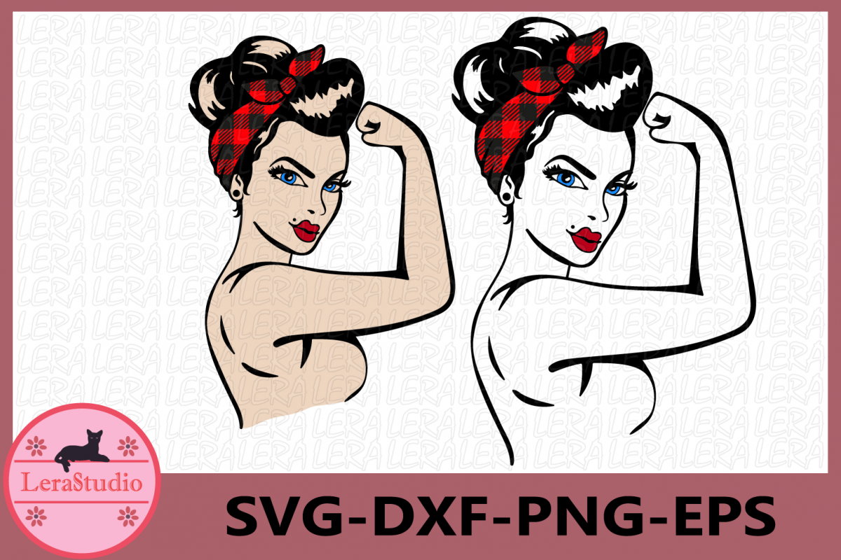Girl Power SVG, Buffalo Plaid SVG, Rosie Silhouette Files example image 1