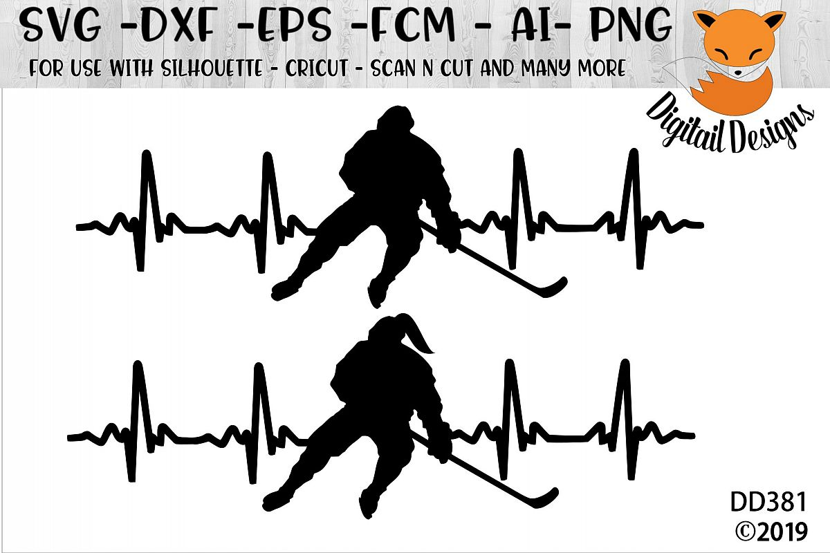 Love Hockey EKG Heartbeat SVG example image 1