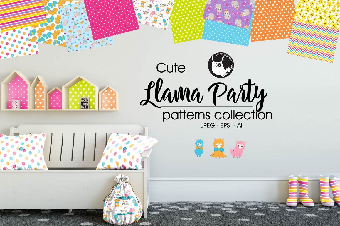 LLAMA-PARTY, digital papers example image 1