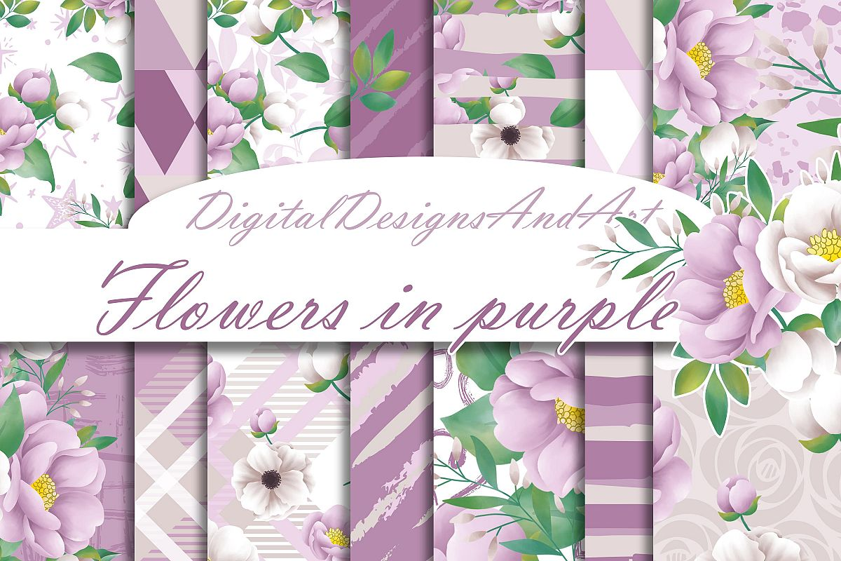 Purple flowers paper example image 1