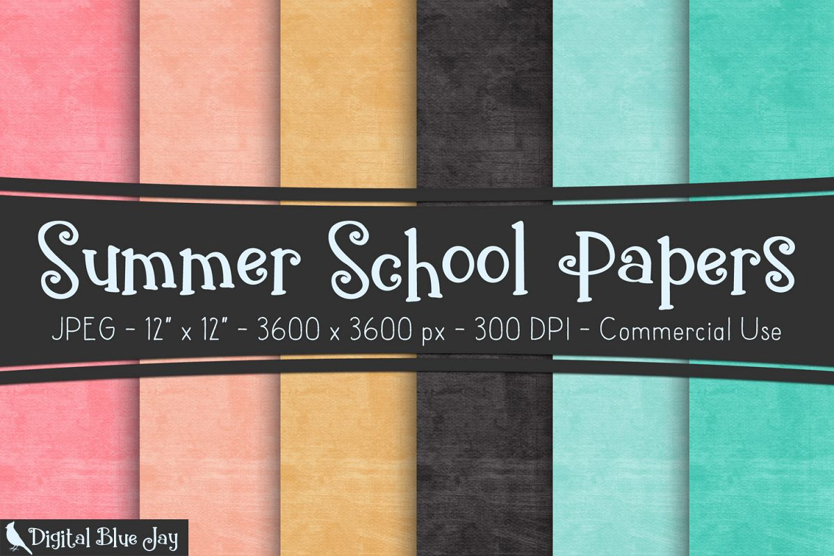 Digital Paper Textured Backgrounds - Summer School example image 1
