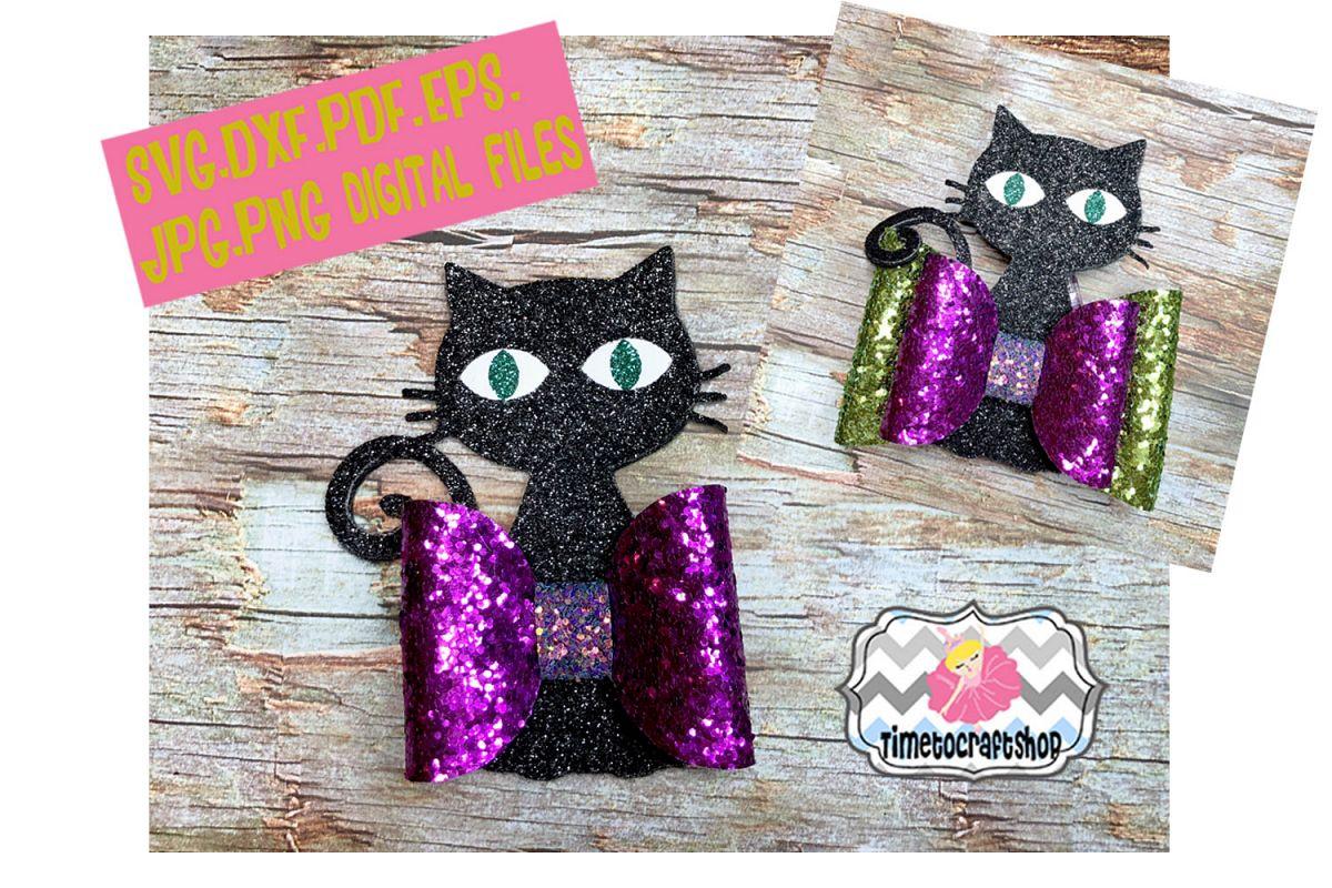 Halloween Black Cat Hair Bow Template