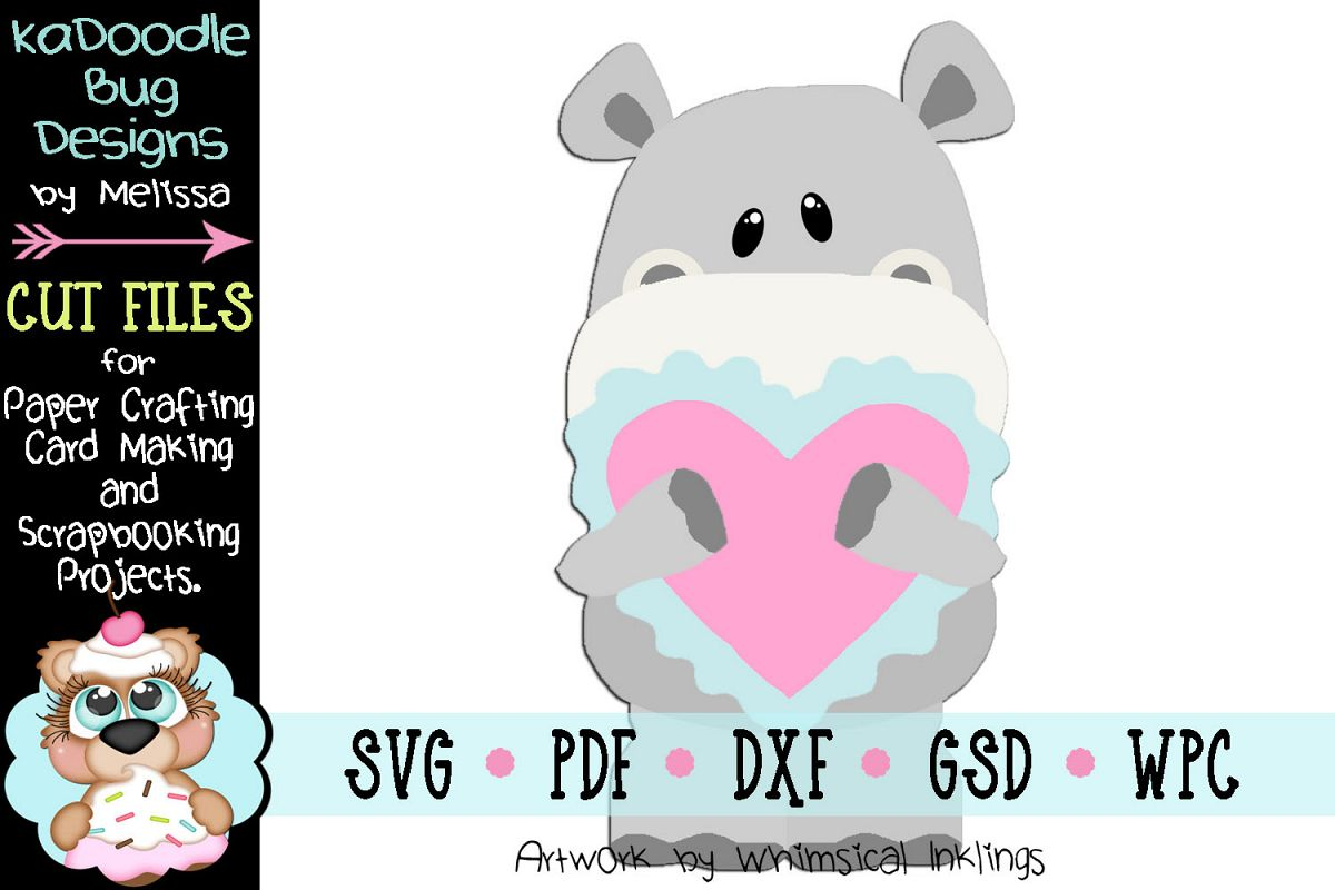 Valentine Boy Hippo Cut File - SVG PDF DXF GSD WPC example image 1