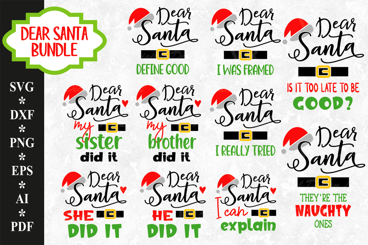 Dear Santa Christmas Bundle SVG cut files example image 1