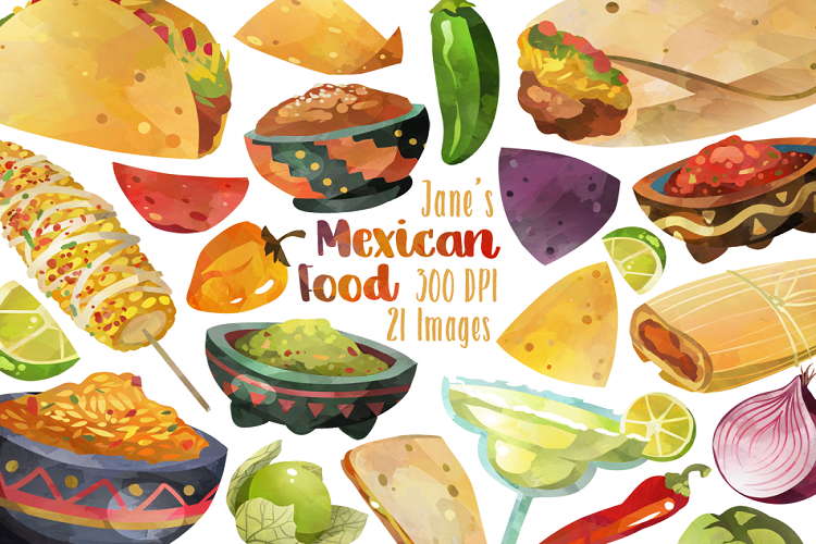 Food mexican. Watercolor clipart