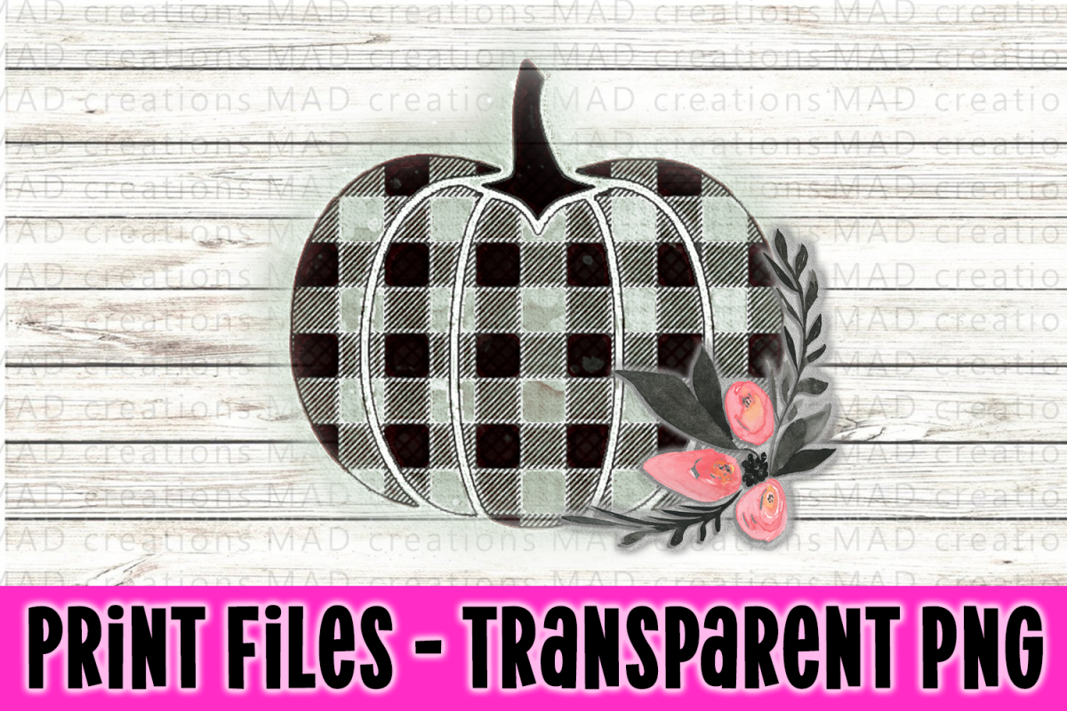 Buffalo Plaid Floral Print File Clipart example image 1