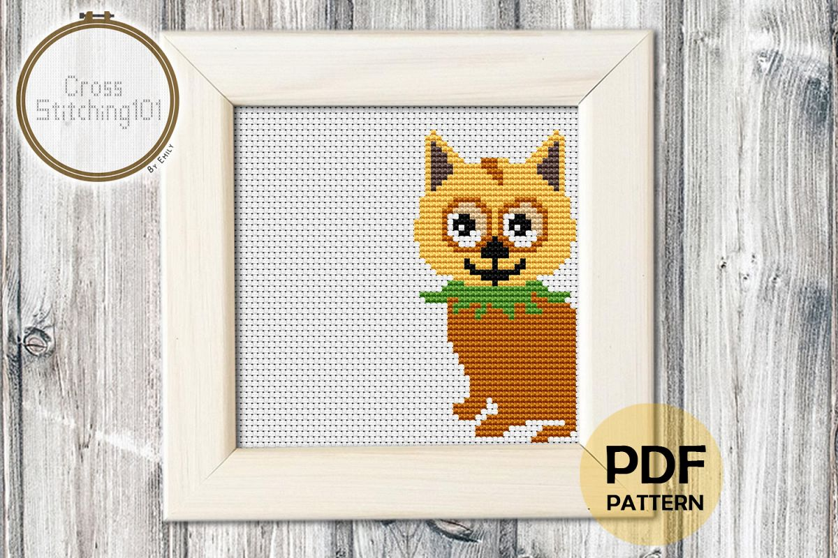 Cute Curious Kitten Cross Stitch Pattern - Instant Download example image 1