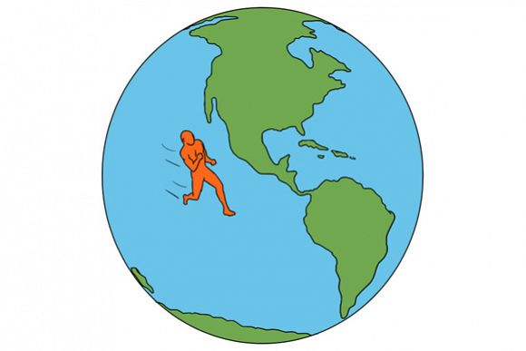 Marathon Runner Running North and South America Drawing example image 1