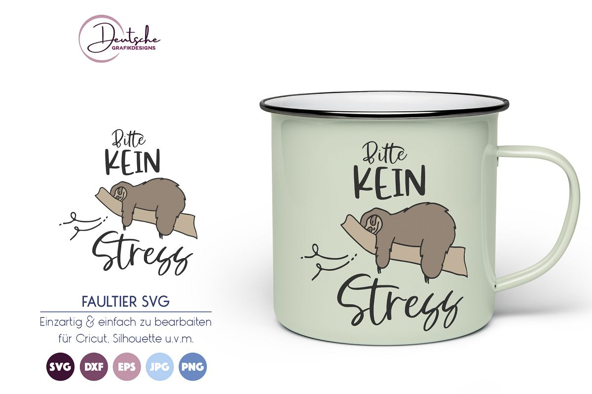 Faultier SVG | Bitte kein Stress example image 1