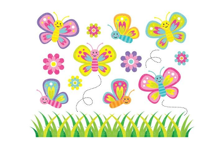 Lovely Butterflies-Digital Clipart (LES.CL012) example image 1
