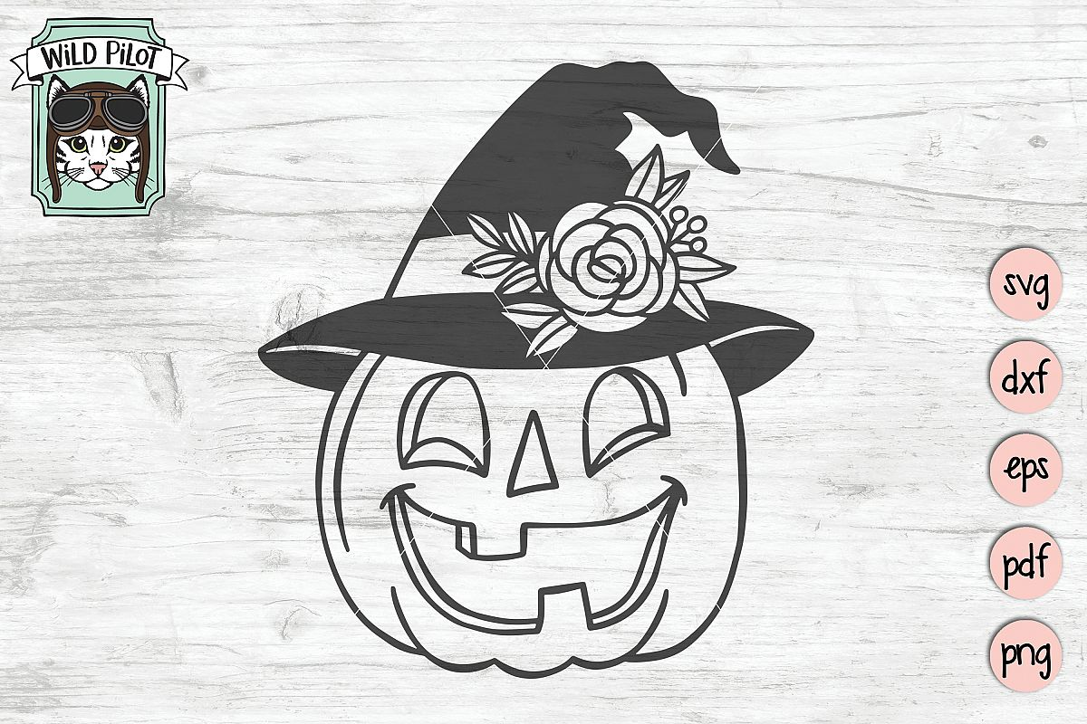 Pumpkin witch hat svg file, Jack o lantern cut file example image 1